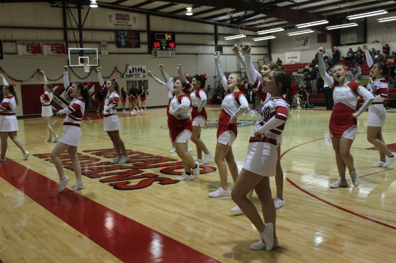 Cheerleaders rally the crowd