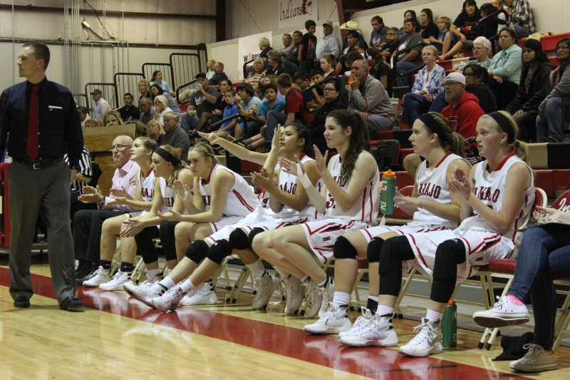 Lady Indians cheering their fellows